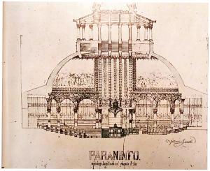 Ce dessin effectué durant les études de Gaudi à l'école d'architecture représente une approche style beaux-arts.